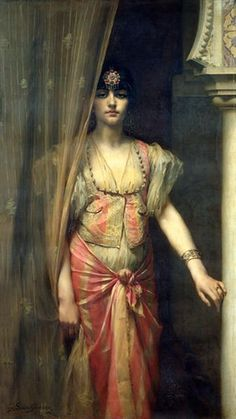 """""""Beautifuldavinci"""" tells us that Soudja Sari Gaston Casimir Saint-Pierre was a pupil of Leon Cogniet and Charles Jalabert in Paris, and that he made several trips to North Africa. This is his portrait of a harem girl. Oil On Canvas, Canvas Prints, Art Prints, Jean Leon, Empire Ottoman, Gaston, Beautiful Paintings, Female Art, Art History"""