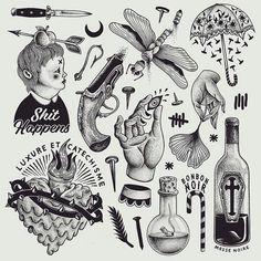 Black Ink Tattoos, Mini Tattoos, Dog Tattoos, Tattoo Drawings, Tattoo Illustration, Graphic Design Illustration, Flash Art Tattoos, Tattoo Apprenticeship, Handpoke Tattoo