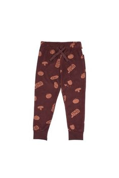 """towel sweatpantplum baseterracotta """"groceries"""" allover printtwill tape to tie upcozy elastized waistband with cotton tapecuffed ribbed hemthe model is 127 cm tall and is wearing size Baby Shop, Towel, Pajama Pants, Sweatpants, Cotton, How To Wear, Shopping, Fashion, Print Jeans"""