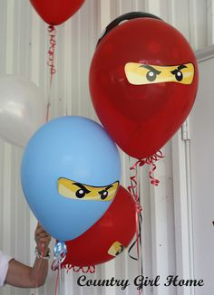 "Kick up your LEGO Ninjago party supplies with 23 of the best Ninjago birthday party ideas! Pack a punch with these Ninjago party decorations. Entertain guests with games like ""pin the mask on the ninja"" or Ninja Birthday Parties, Dinosaur Birthday Party, Birthday Party Decorations, Birthday Balloons, Lego Balloons, 9th Birthday, Birthday Ideas, Ninjago Party, Lego Ninjago"