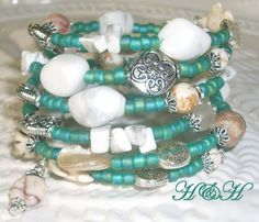 Beach Memory Wire Bracelet Coil Wrap Bracelet by hhjewelrydesigns, $30.00