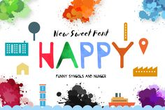 Happy Hour by JosephaStone on Creative Market Creative Fonts, Creative Sketches, Texture Web, Design Typography, Pretty Fonts, Photoshop, Illustrations, All Fonts, Premium Fonts