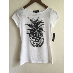 NWT rhinestone pineapple burnout tee White burnout tee with black pineapple. Pineapple has silver rhinestone detailing. Size small. NWT! INC International Concepts Tops Tees - Short Sleeve
