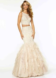 Fitted 2015 Nude Two Piece Beaded Open Back Mermaid Prom Dress