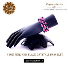 Dazzling Neon Pink and Black Crystals Bracelet for all the girls who are in a bright bubbly mood   #JewelleryManufacturer #JewelleryExporter #FashionJewellery #JewellerySuppliers #Jewellery #Suppliers