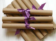 Rolled Wedding Programs: Unique Custom Ceremony Wedding Programs on Kraft- You Pick Colors. $1.60, via Etsy. #weddingprograms #weddinginspiration