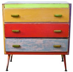 Vintage upcycled painted chest of drawers #retro #vintage