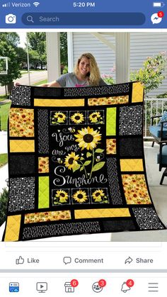 Sunflower - You Are My Sunshine Quilt Blanket - Single Quilt 3d Quilts, Rag Quilt, Easy Quilts, Quilt Blocks, Amish Quilts, Fabric Panel Quilts, Quilting Projects, Quilting Designs, Quilting Templates