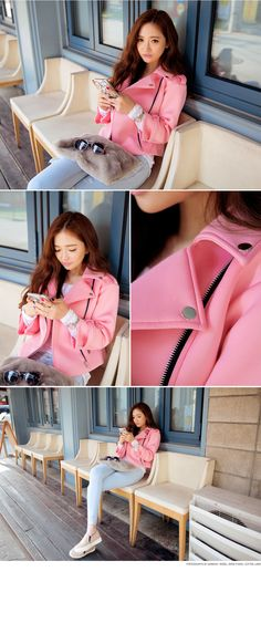 Buttoned Collar Off-Centered Zipper Jacket - I know you wanna kiss me. Thank you for visiting CHUU.