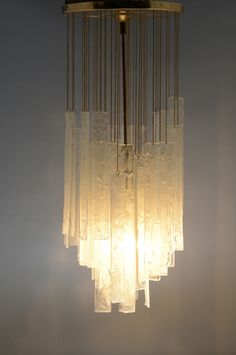 Anonymous; Brass and Glass ceiling light by Mazzega, 1970.