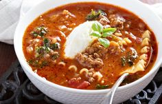 Slow Cooker Lasagna Soup -Full of  Flavor!  www.GetCrocked.com