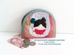 Appliqued Quilted Handmade Coin Purse , 11 cm x 13.5 cm, 3 in one, coins, cards and key purse,
