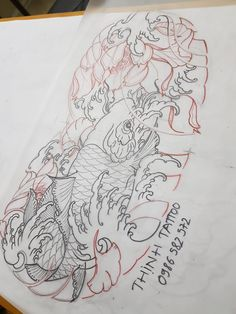 Koi Tattoo Design, Dragon Tattoo Designs, Japanese Koi Fish Tattoo, Hannya Mask Tattoo, Graffiti Tattoo, Carpe Koi, Asian Tattoos, Oriental Tattoo, Desenho Tattoo