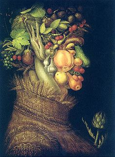 Giuseppe Arcimboldo (also spelled Arcimboldi; 1527 - July 11, 1593) was an Italian painter best known for creating imaginative portrait heads made entirely of such objects as fruits, vegetables, flowers, fish, and books - that is, he painted representations of these objects on the canvas arranged in such a way that the whole collection of objects formed a recognizable likeness of the portrait subject.