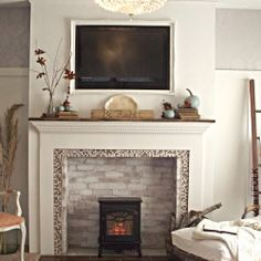 An Eclectic Vintage Cottage Style Living Room With A Thanksgiving Themed Fireplace Mantel