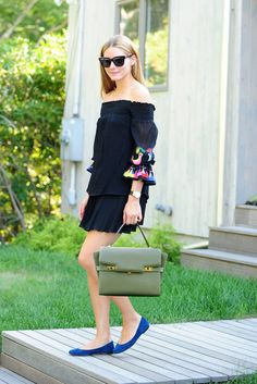 Make a Fun Printed Dress Feel Sophisticated With a Leather Bag