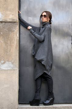 Oversize Grey Loose Casual Top / Asymmetric Raglan Long SleevesTunic Knit Top / Maxi Blouse Turtle neck Tunic A02058