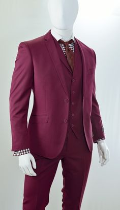 Vittorio Mens Burgundy Slim Fit Suits 3 Piece Seacrest TM62HB
