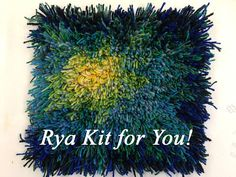Rya rugs are coming back. Blue Fireflower Rya Kit for YOU to Make. Virgin Wool rya yarn on Acrylic/linen backing with pattern drawn on the backing for you. Rya Rug, Yarn Organization, Yarn Painting, Textiles Techniques, Paint By Number Kits, Pattern Drawing, Color Card, Midcentury Modern, Make It Yourself