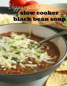Veggie-Packed Slow Cooker Black Bean Soup from Amuse Your Bouche; this sounds delicious and it's vegetarian, Gluten-Free,and freezer-friendly. [Featured on SlowCookerFromScratch.com]