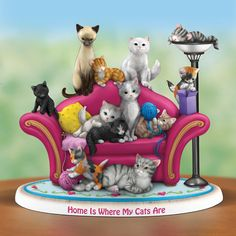 """Home Is Where My Cats Are"" is a one-of-a-kind figurine skillfully sculpted by Master Craftsmen. Every detail, from the tops of their ears to the tips of their tails; from their playful wideeyed expressions to the soft look of their fur; from the plump cushions on the cozy couch to the blankets, balls of yarn and circular rug is sculpted, shaped and molded by hand, one detailed step at a time. Each adorable cat is a heartwarming reminder of the joy these cuddly creatures bring into our lives."