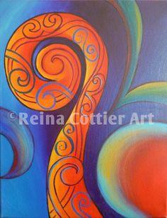 Red Koru- original painting by Reina Cottier. Prints available. www.reinacottier.com