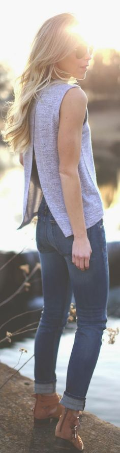 Casual look in open back top and denim...I like the open back a lot and the grey color! I with the style wasn't so boxy though
