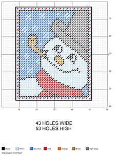 Christmas Snowman Portrait plastic canvas pattern