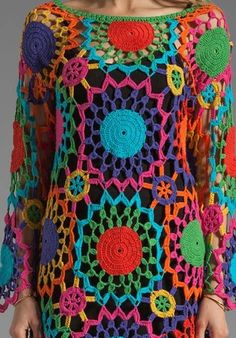 Boho Crochet Dress Long Sleeve in Granny Square Pattern. Crochet Tunic, Crochet Jacket, Crochet Clothes, Crochet Baby, Knit Crochet, Crochet Dresses, Crochet Toddler, Hand Crochet, Crochet Circles