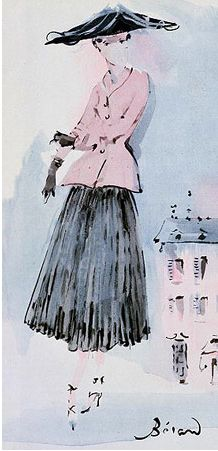 Illustration by Christian Bérard, June 1947, Christian Dior, French Vogue.