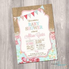 Shabby Chic Baby Shower Invitation Girl Baby by StyleswithCharm $14 printable jpeg #shabbychicbabyshower