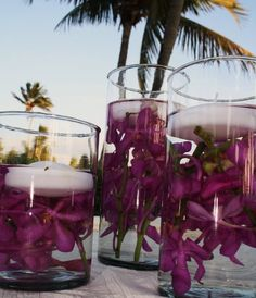purple pink floral candles