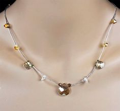 Mother of the Bride Swarovski Crystal Wedding Necklace, Swarovski Crystals in Soft Sparkly Shades - Tatiana