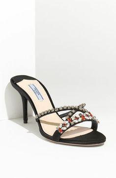 86a048434 Prada Jeweled Satin Sandal - Pretty jewels for a person with pretty feet.  Black Jewel