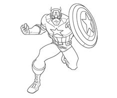 Super Hero Captain America Coloring Pages For Kids