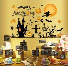 HighFS Happy Halloween Pumpkin Wall Decals Removable Wall Decor Decorative Painting Supplies and Wall Treatments Stickers for Living Room Bedroom ** Unbelievable  item right here! : home diy improvement
