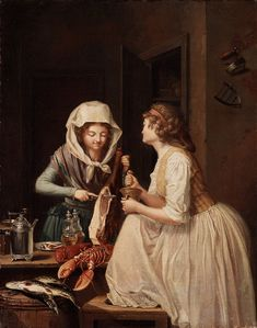 PEHR HILLESTRÖM, Two women, one cutting ham, the other grinding pepper Signed Hilleström and indistincly dated 18th Century Dress, 18th Century Costume, 18th Century Clothing, 18th Century Fashion, French Revolution, Working Class, Historical Clothing, Female Clothing, Yesterday And Today