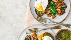 Check out this recipe! Spinach Egg, Spinach Stuffed Mushrooms, Basil Pesto, Recipe Ratings, Sourdough Bread, Poached Eggs, Smoking, Breakfast Recipes, Fries