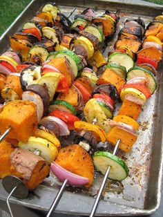 a hint of honey: Grilled Sweet Potato and Vegetable Skewers.i neeeeed a grill! Veggie Dishes, Veggie Recipes, Vegetarian Recipes, Healthy Recipes, Kabob Recipes, Grilled Vegan Recipes, Side Dishes For Bbq, Drink Recipes, Grilling Recipes