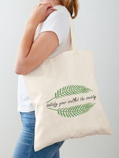 """Tropical green leaf "" Tote Bag by Printed Tote Bags, Cotton Tote Bags, Reusable Tote Bags, Green Leaves, Cotton Fabric, Tropical, Stuff To Buy, Shopping, Fashion"