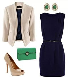 Navy, nude and green - love this outfit my style pinboard fashion, professi Professional Wardrobe, Professional Dresses, Work Wardrobe, Business Professional, Business Women, Fashion Mode, Work Fashion, Fashion Outfits, Woman Outfits