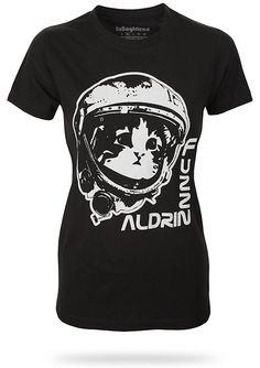 Space: The Furry Frontier -- Fuzz Aldrin Ladies' Fit tee via Think Geek