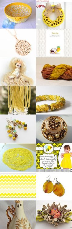 Yellow Sunday by Dennis and Kay on Etsy--#etsy #treasury #yellow #basket #daisy #bowl #wexford #treasures #spring #summer #picnic Pinned with TreasuryPin.com