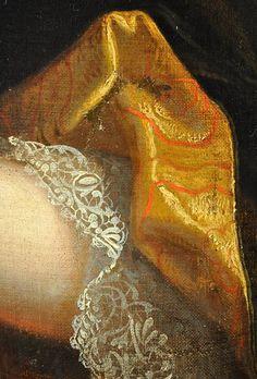 .:. Portrait d'une Dame De Qualité époque Louis XIV vers 1690, detail