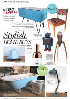 Featured in July's The Norwich Resident: Enamel tea pot and Antwerp desk lamp.
