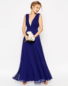 Image 1 - ASOS WEDDING - Maxi robe plissée et ultra évasée à grand décolleté plongeant
