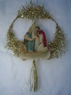 OOAK Rare Antique Nativity German Scrap Gold Lametta Tinsel Handmade Victorian Christmas Tree Ornament