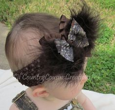 Camo Hair Bow - Brown Puff Feather Mossy Oak Camo Bow on CLIP - Realtree Max 4, Hardwoods and  Realtree Green Patterns Available