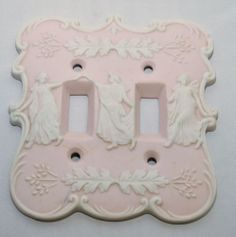 Vintage Arnart Japan Porcelain Pink Bisque Relief Dual Switch Plate - this was relisted at a lower price - hard to beat this Wedgewood style plate in baby pink with white relief Grecian Goddesses! So perfect for a princess room or vintage bath perhaps?