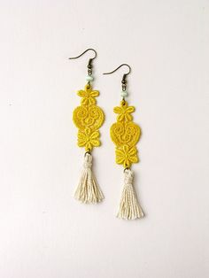 lace earrings - BOHEMIAN - tassel earrings- by White Owl long boho chic earrings in mint, gold and ivory made of vintage lace.
